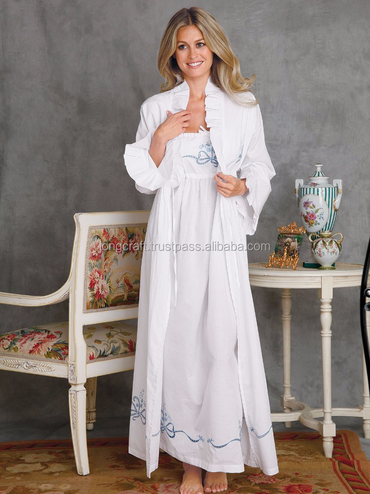 White cotton night dress and robe with blue embroidery