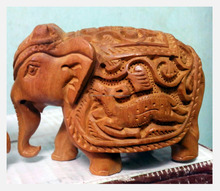 Jaipur Handmade Statue Sculpture India Rajasthan Animal Figure wooden Elephant