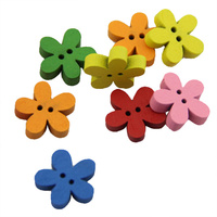 15x15mm mixed colors Flower Wood Button