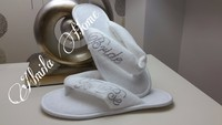 customize velour non-slip sole flip flop slippers