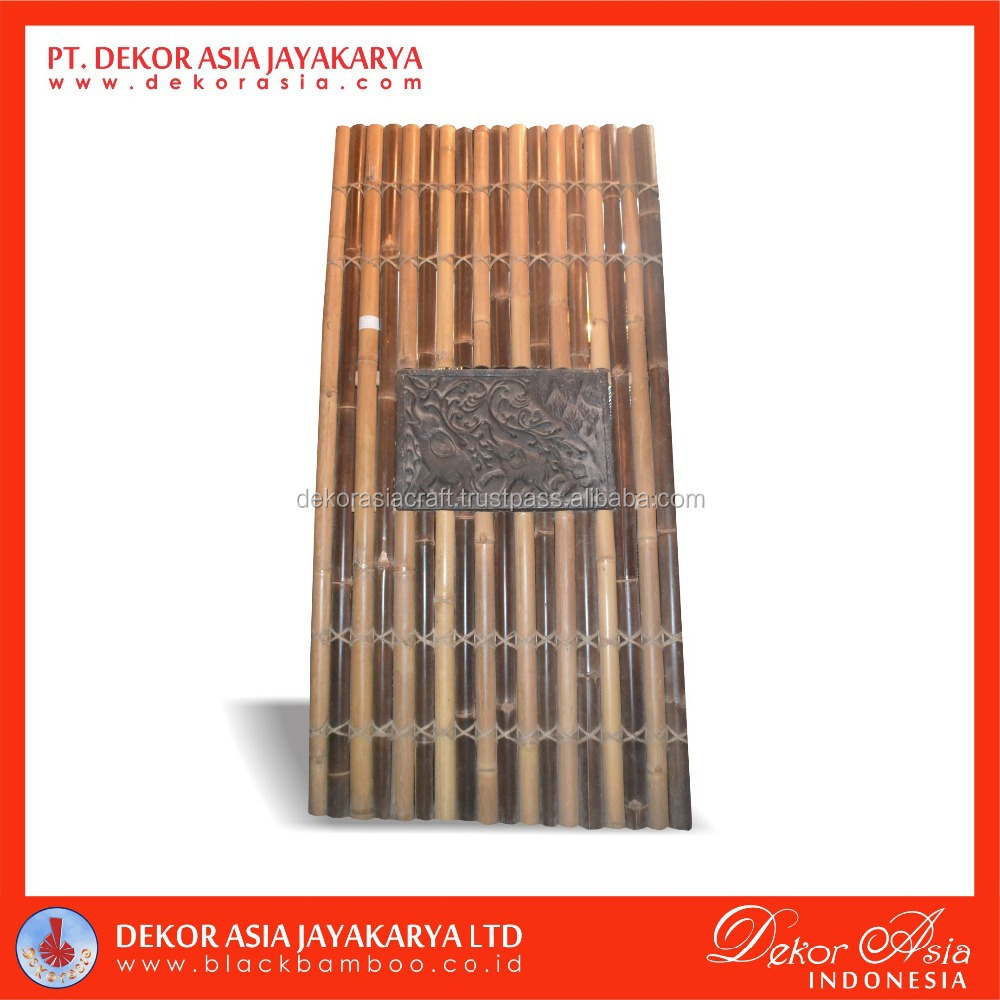 Black Bamboo, Natural half fence with 4 back slats, decorative inserted and cream rope
