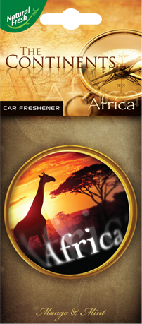 NATURAL FRESH CONTINENTS Hanging paper car airfresheners