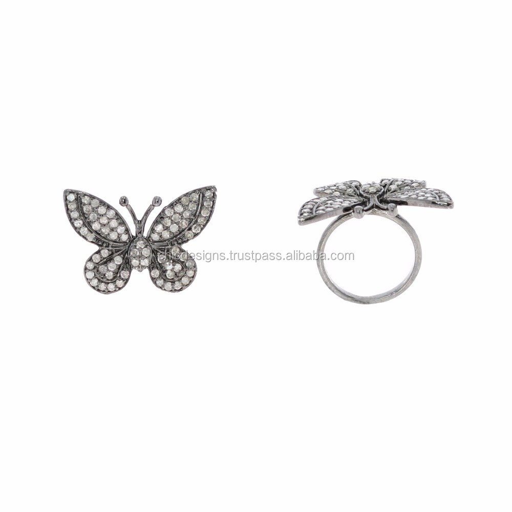 Pave Diamond Silver Butterfly Mid Ring Jewellery 925 Sterling Silver Ring Fashion Diamond Jewelry