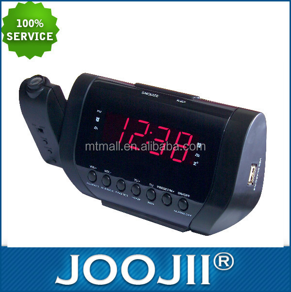 "New Arrival 0.9"" Projection alarm clock radio with USB charging"