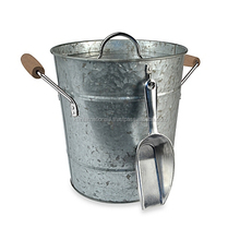 Antique Galvanized Metal Bucket with Lid