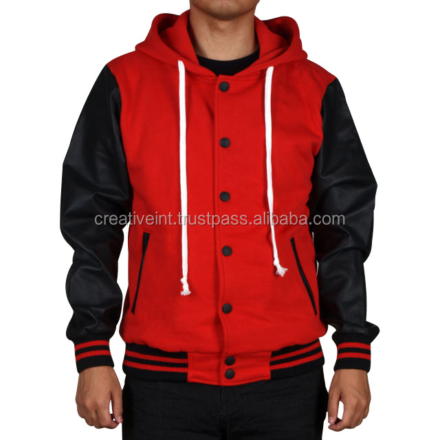 O-neck double breasted slim with pocket red and black colo jacket/wholesale varsity jacket