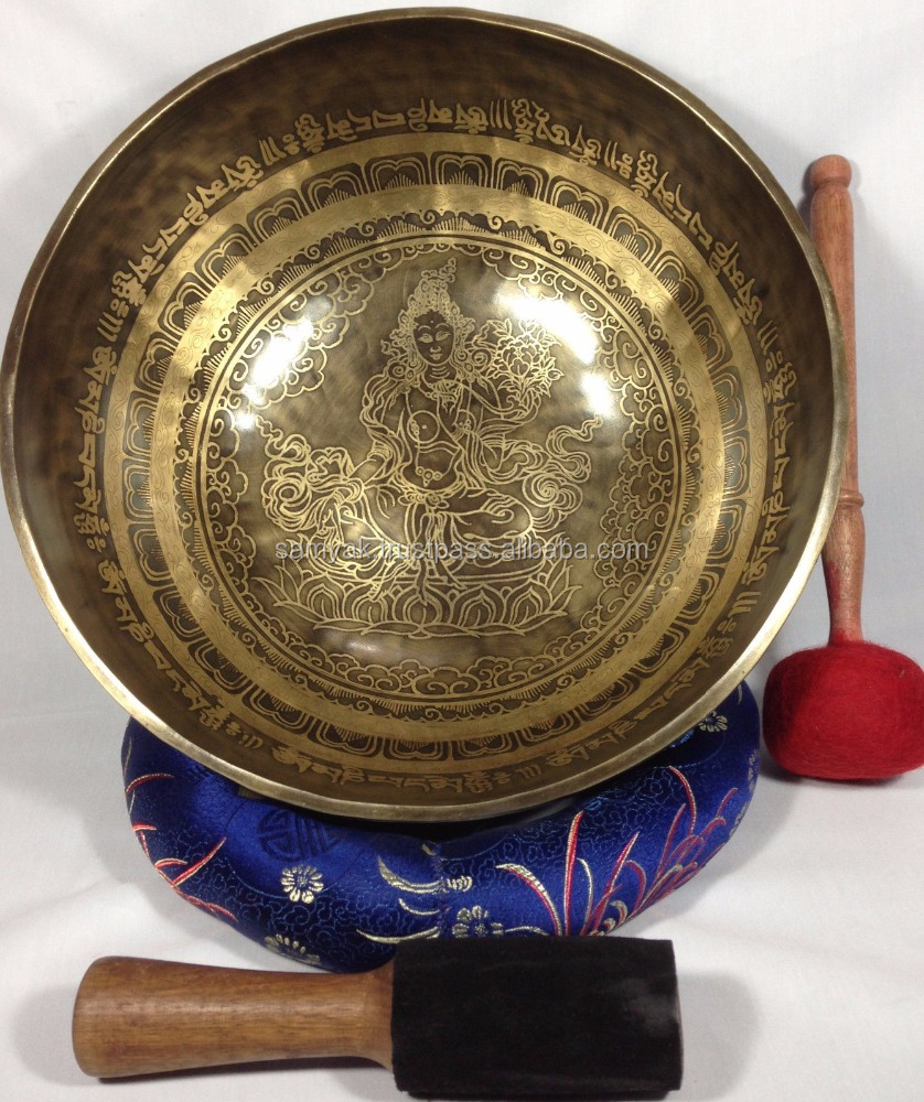 High Quality Green Tara and Buddhist Mantra Carving Energetic Healing Singing Bowl