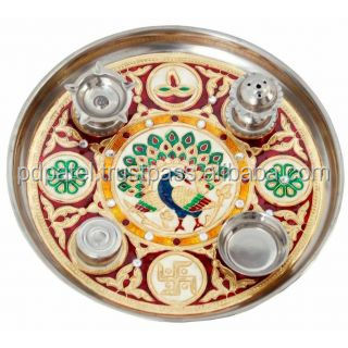 PD Craft meenakari work decorative Stainless steel pooja thali -9 inches