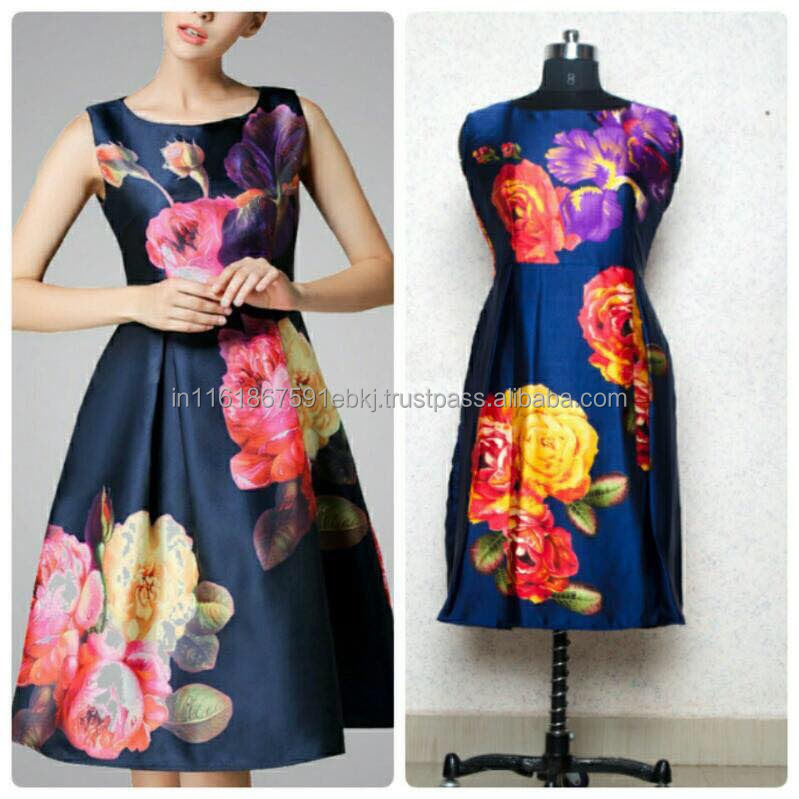 2017 Latest Design Digital Print Women Navy Blue Western Dress/Casual Dress