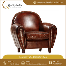 Designer Oval Shape Leather Tufted Comfort Sofa Exporter