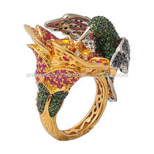 High end flower ring by 14k gold and diamond, sapphire, tsavorite and ruby QDG286