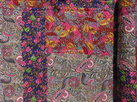 Printed Patchwork Kantha Quilt Handmade Cotton Bedspread Multi Color Patches Handmade Kantha Embroidered Quilt