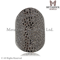 Black Diamond Pave Ring 925 Sterling Silver Ring Silver Diamond Ring Handmade Jewelry for Women Online Diamond Jewelry Exporter