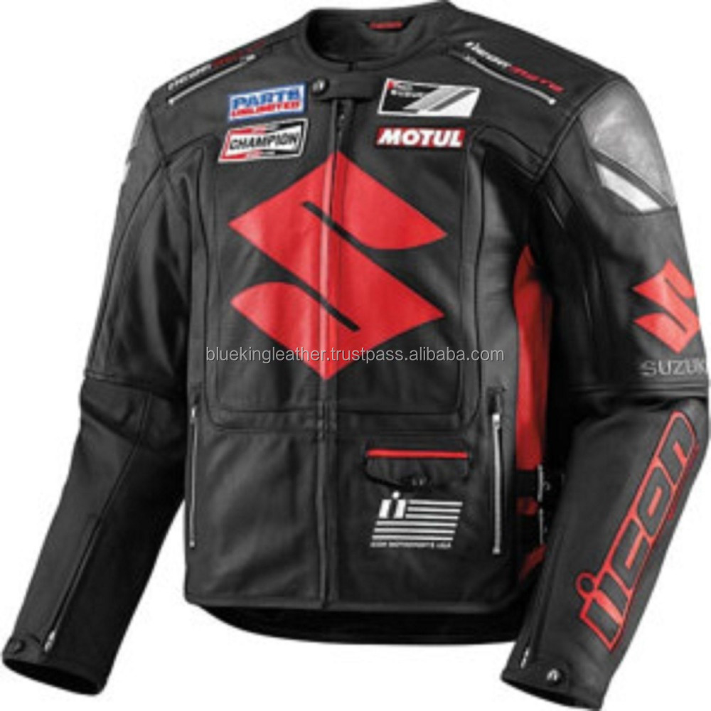 Suzuki Motorcycle Real Leather Jackets Biker Racing Jackets,CowHide,Drum Dyed,CE