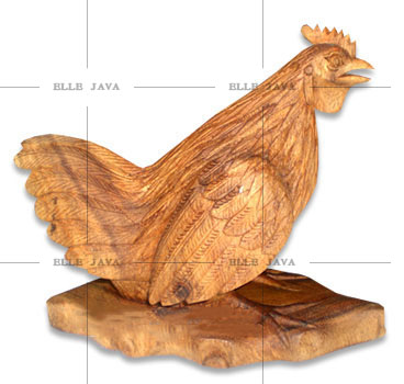 Natual Wooden Carved Craft Animal Sitting Chicken
