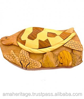 Handmade Art Intarsia Wooden Puzzle Box, Wooden Art Turtle Jewelry Puzzle box