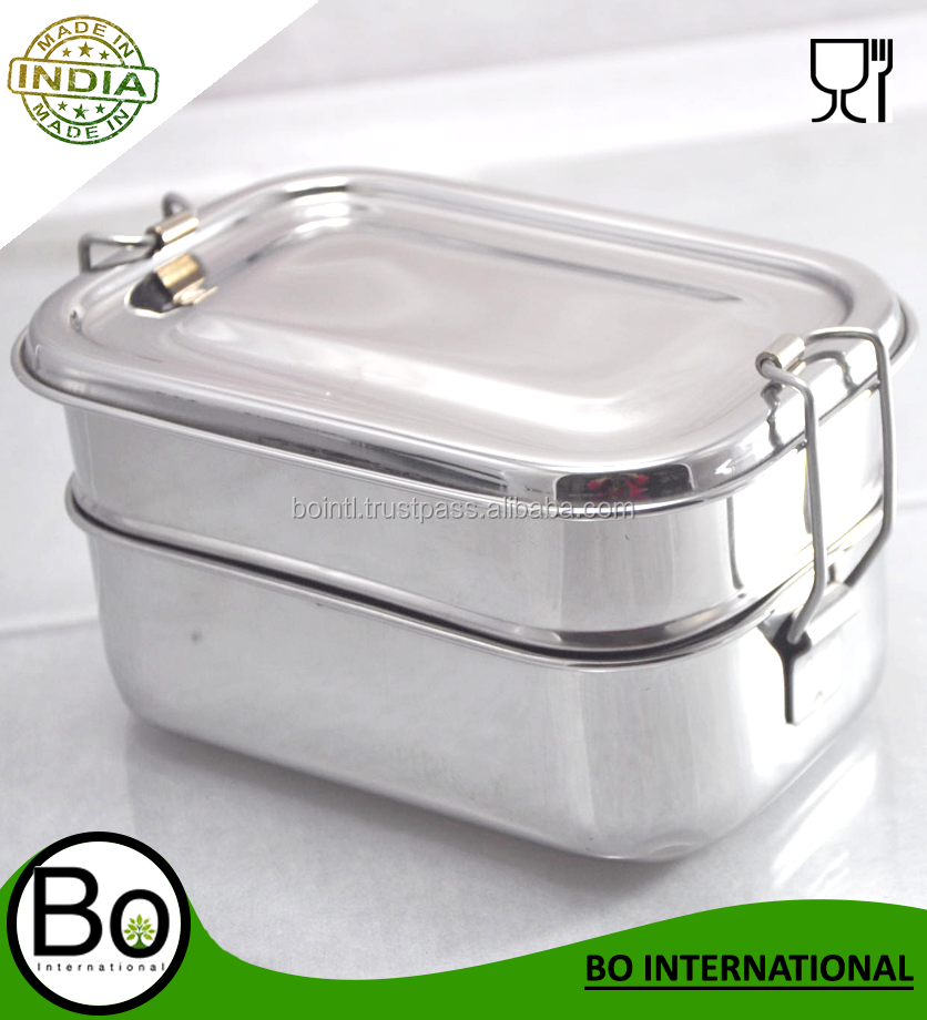 304 Stainless steel 3 compartments kids bento lunch box with lock
