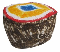 ROUND FURNITURE OTTOMAN INDIAN TRADITIONAL COTTON HANDMADE POUF FOOTSTOOL WITH MULTI COLOUR