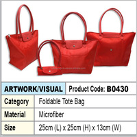 Red microfiber foldable tote bag / shopping bag