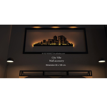 Decorative Metal steel wall art Famous City Landmark with LED lighting backlitart for home decoration