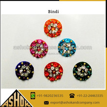 Round Tikka Indian Bindi Sticker / Round assorted colorful fashion forehead bindis manufacturer exporter