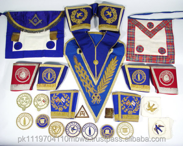 BLUE HOUSE MASTER MASON DRESS MASONIC METAL CHAIN COLLAR FINISH GOLD