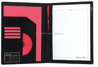 Latest arrival black genuine leather file folders /compendium folder