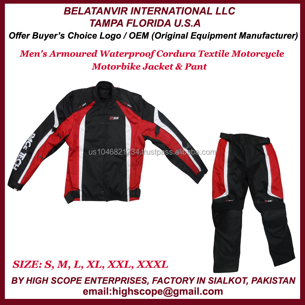 MotorCycle/ Motor Bike Jacket & Pant For Men Made Of Cordura Polyester Fabric Armoured/ WaterProof Color Black