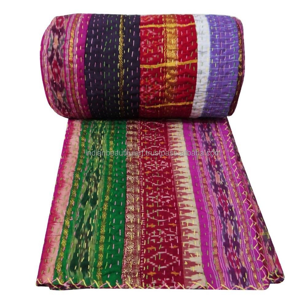 Multicolor Patched Work Kantha Style Quilt Cotton Gudri Bedspread 105 X 93