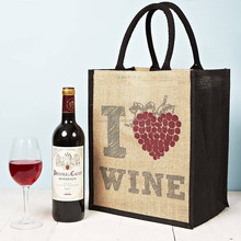 20I7 Love Wine Jute wine bottle Bag with 6 Bottle Divider