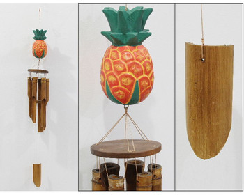 WINDCHIME MEDIUM BROWN BAMBOO PINEAPPLE TOP