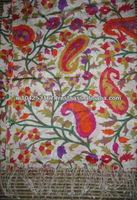 cashmere scarf, stoles and shawls, pashmina shawls 45% silk 55% pashmina with different designs with embroidery from india