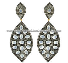14K Gold Diamond Pave Drop Gemstone Royal Moonstone Handmade Silver Drop Earring Jewelry Wholesales