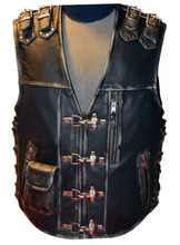 Leather Motorcycle Vest, Biker Waistcoat, Motorbike Leather Vest, Chopper Leather Vest