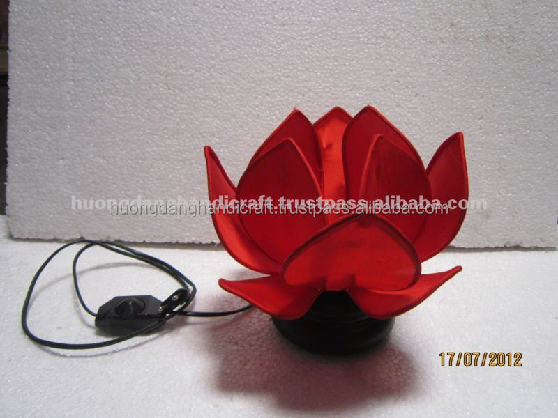 Iron Frame with Red Silk and Lotus Shape Lantern, Luxury product made in Vietnam