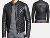 2015 Fashion Mens Quilted Lambskin Leather Moto biker Jacket