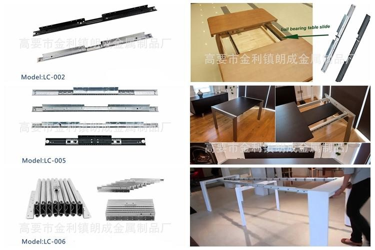 Expandable dining table extension hardware