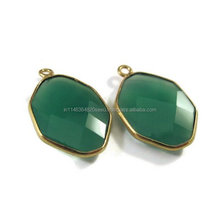 New Arrival - 2 Pc - Genuine Faceted Green Onyx Connector, Findings With Gold Plated Over Sterling Silver Bezel