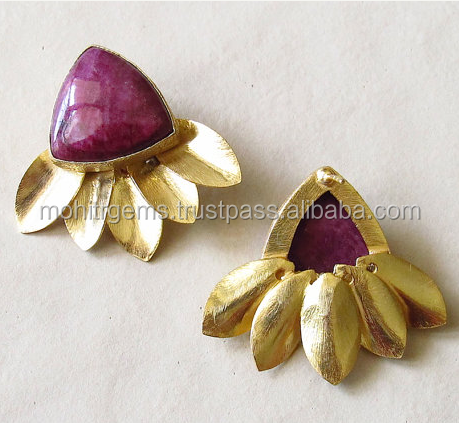 Trillion Shape Ruby Color Stone Leaf Gold Plated Stud Earring