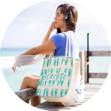 Women's Canvas Beach Shoulder Bag with Rope Handles Striped Cotton Rope Handle Tote Bag Striped Shopping Hand Bag