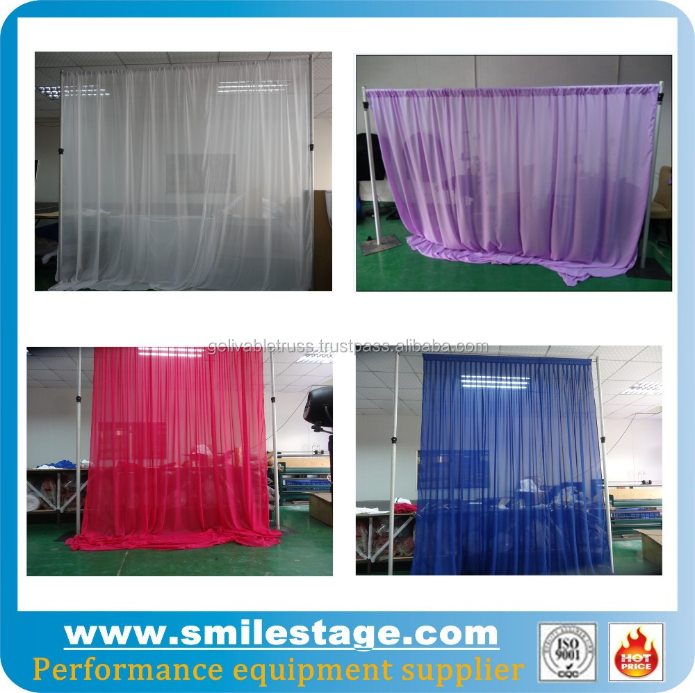 Portable photo booth and chiffon drape for wedding decoration