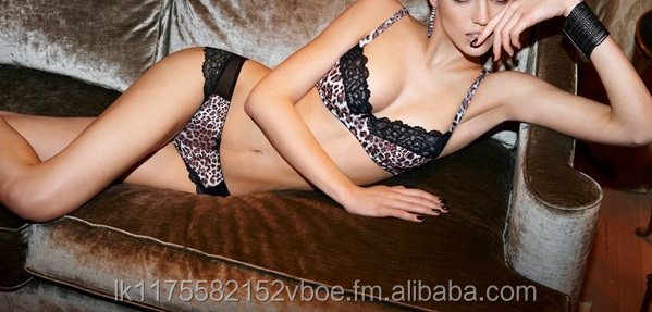 Cotton Padded Animal Print Bra & Thong