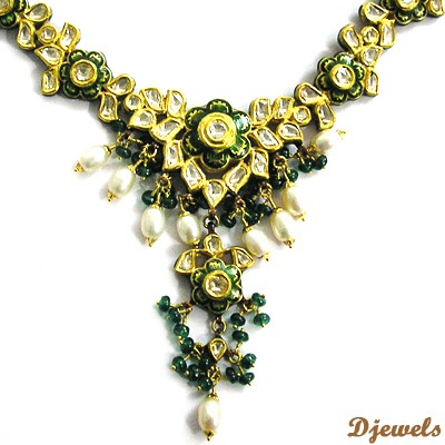 Polki Meena Diamond Necklaces, Indian Kundan Polki Necklaces, Kundan Diamond Polki Jewellery