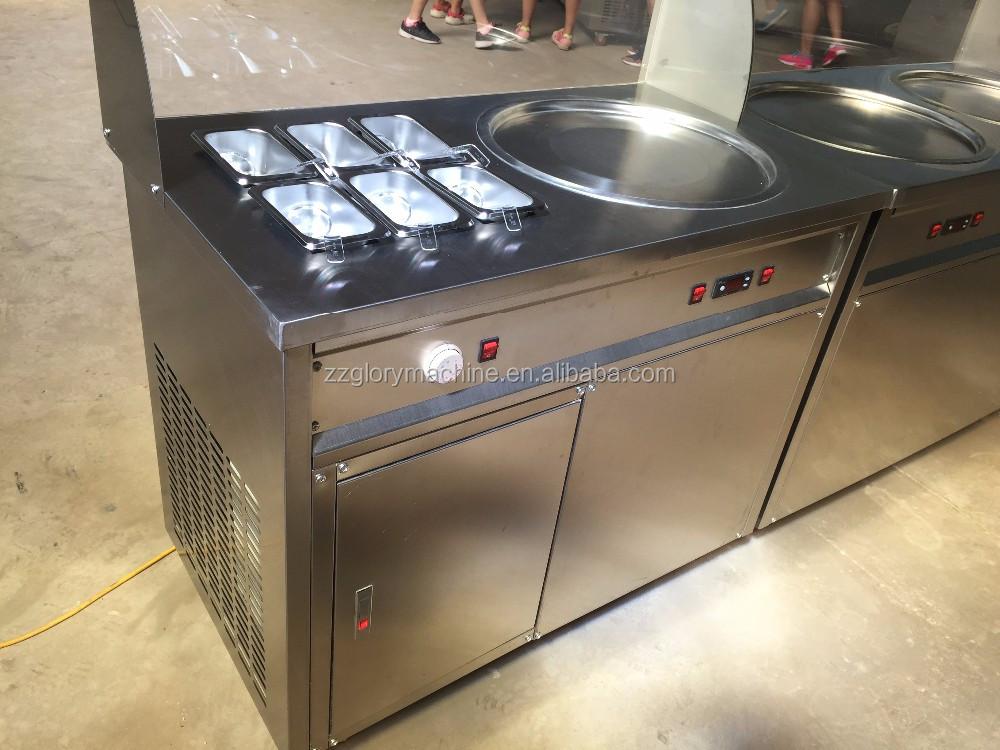 2016 Certificação CE Fonte da Fábrica Rolo Duplo Comercial Plana Pan Frito Máquina de Sorvete, tailândia Fry Máquina de Sorvete