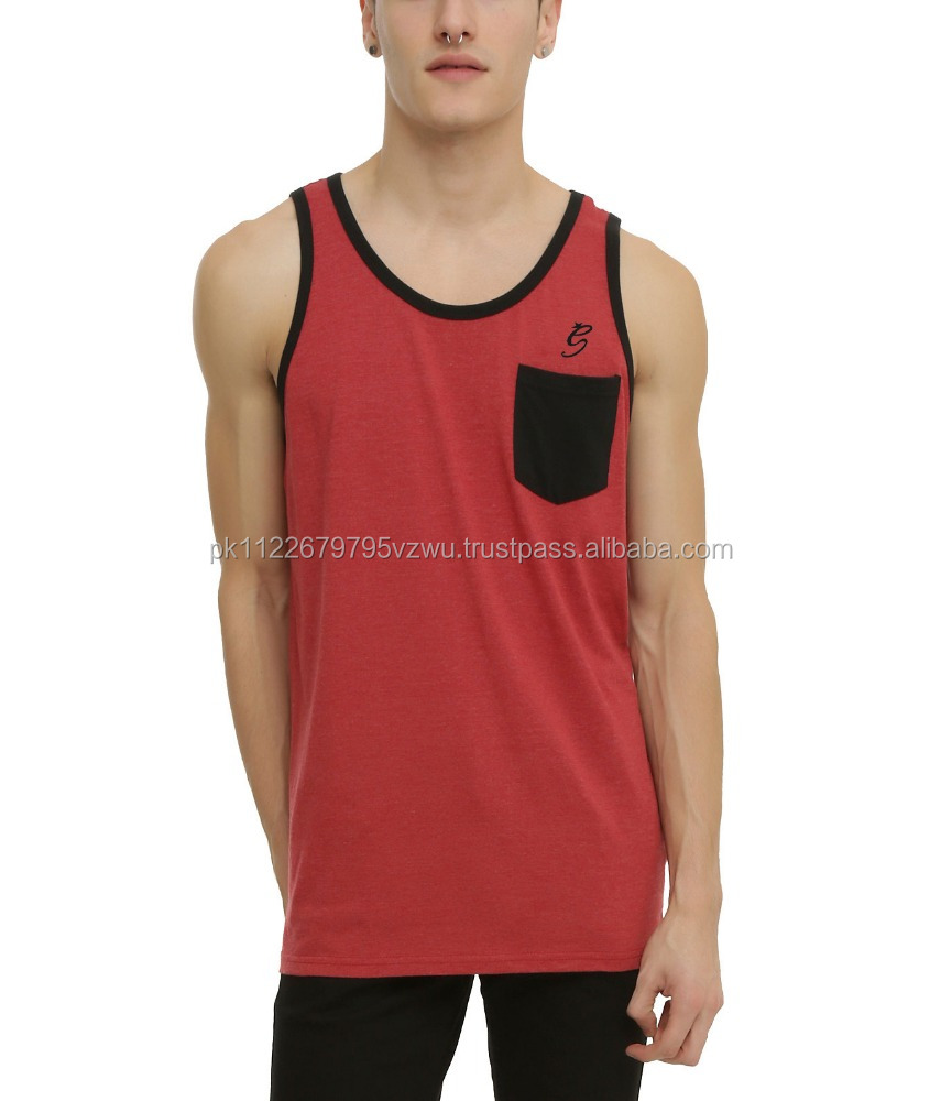 tank top with print trim & pocket design 75% cotton 25% polyester