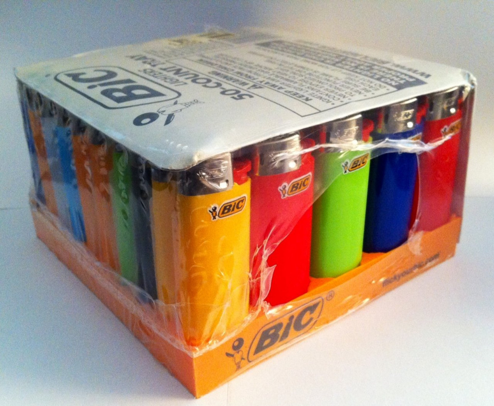Original Quality Electronic Bic Lighter Full Size 50 lighters per tray Assorted Colors Electric