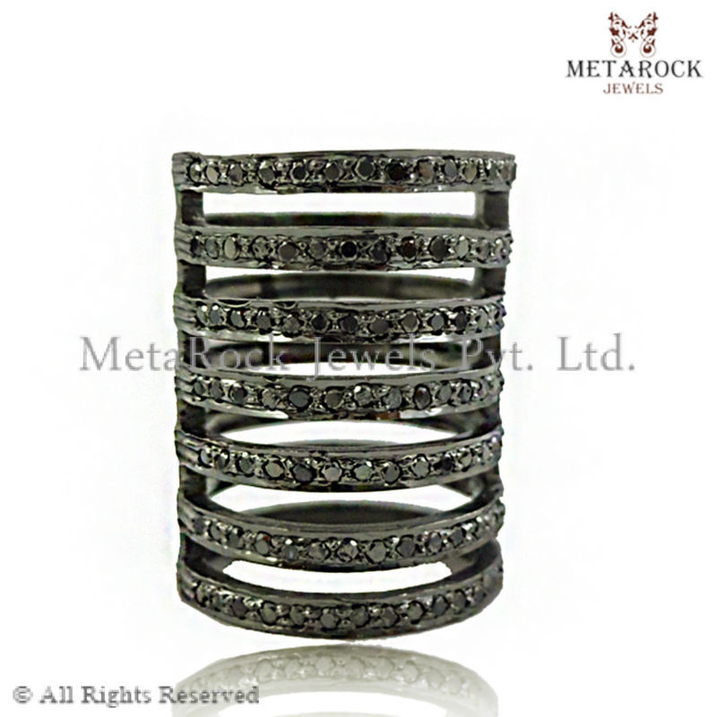 Black Diamond Pave 925 Sterling Silver Cage Ring Women Fashion Jewelry Supplier Exporter