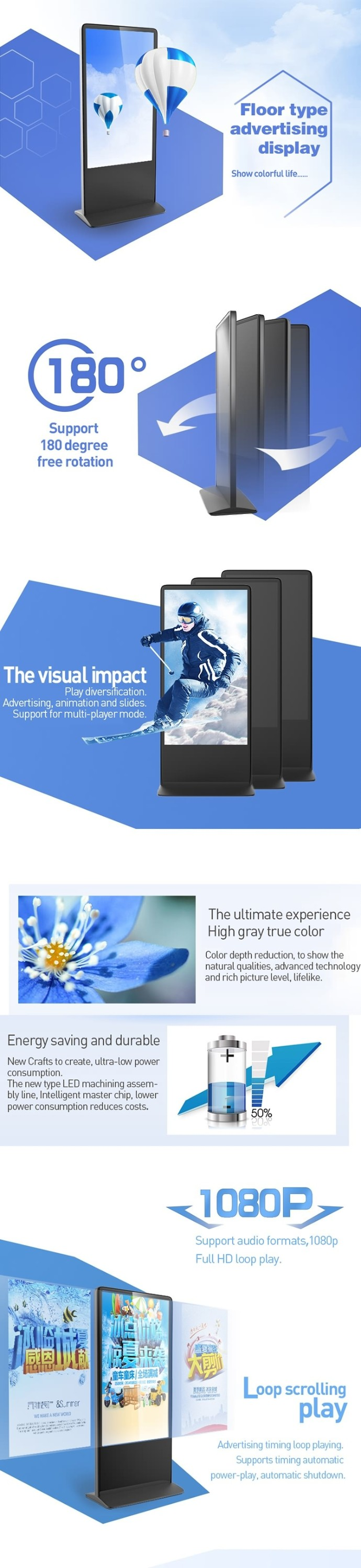 High quality 55 inch free standing full hd tft lcd advertising signs, video player
