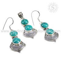 glamorous Turquoise Gemstone Silver Jewelry Set Factory Direct Sale 925 Sterling Silver Jewelry Supplier