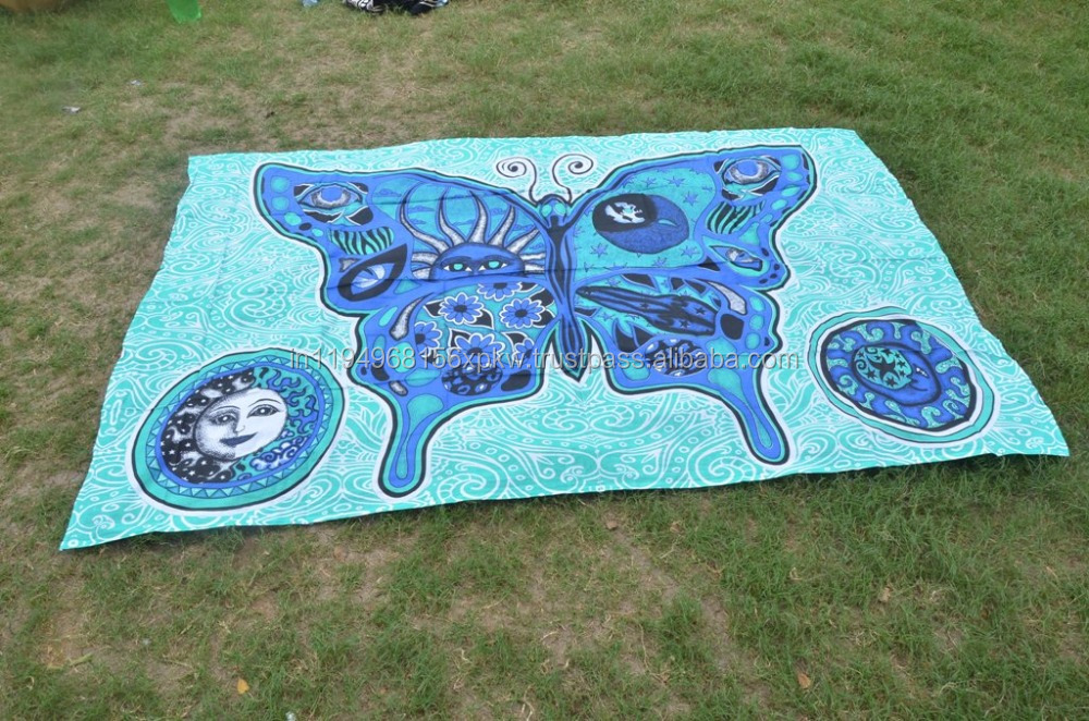 Indian Big Butterfly Hippie Psychedelic Wall Hanging Tapestry Throw Ethnic Boho